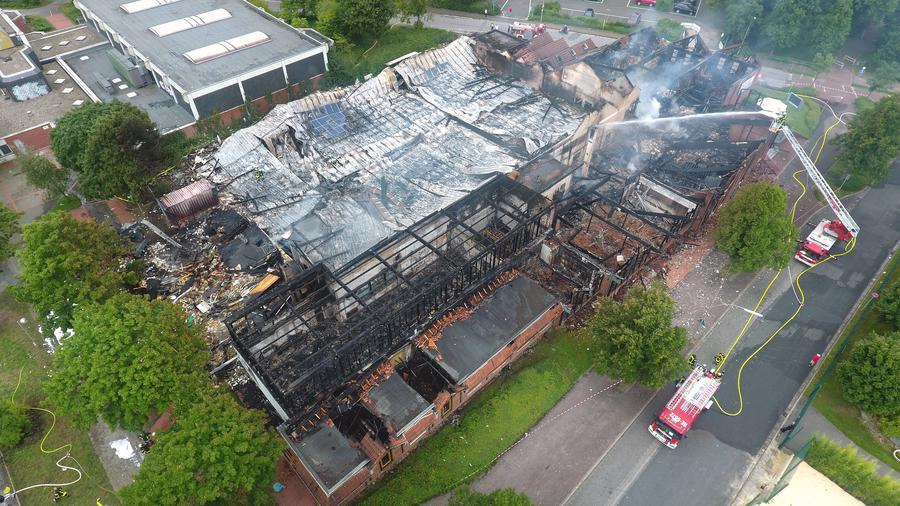 Sporthalle unversehrt nach Brand im Olymp-Sportpark